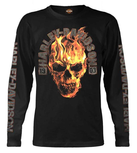 Harley-Davidson Men's Blazing Skull Crew Neck Long Sleeve Shirt - Black - Wisconsin Harley-Davidson