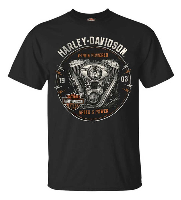 Harley-Davidson Men's Engine Grunge Short Sleeve Crew Neck T-Shirt, Black - Wisconsin Harley-Davidson