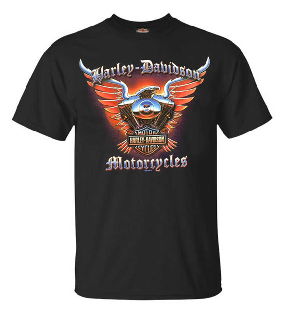 Harley-Davidson Men's Chrome Eagle Crew Neck Short Sleeve T-Shirt - Black - Wisconsin Harley-Davidson