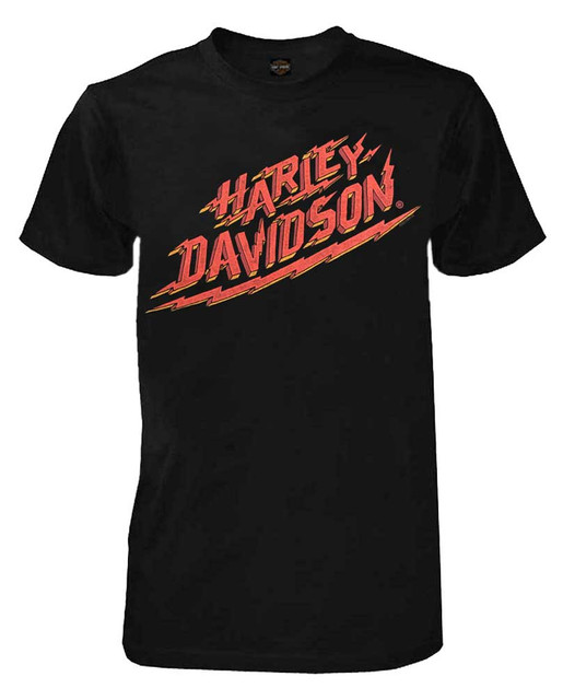 Harley-Davidson Men's Lightning Strikes Crew Short Sleeve T-Shirt - Black - Wisconsin Harley-Davidson