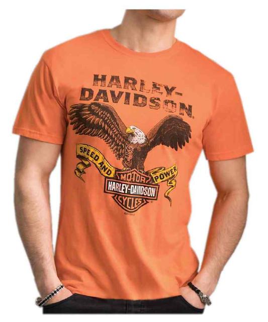 Harley-Davidson Men's Distressed Regal Eagle Tri-Blend Short Sleeve Tee, Orange - Wisconsin Harley-Davidson