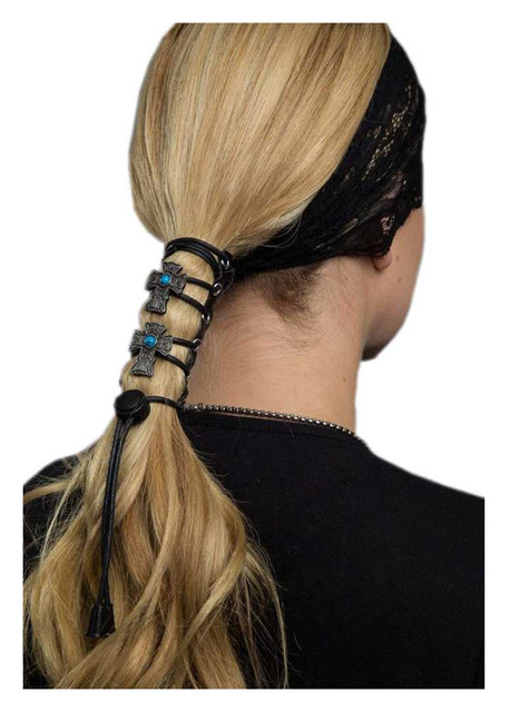Hair Gloves Women's Leather Hair Wrap With Vintage Cross & Laces, 4 in. 31452 - Wisconsin Harley-Davidson