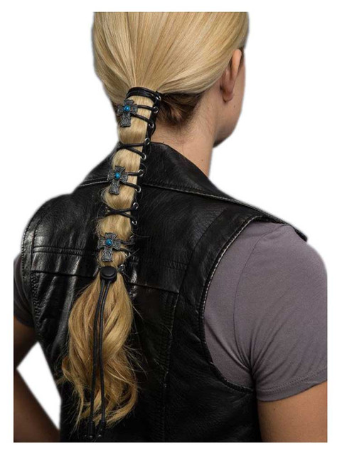 Hair Gloves Women's Leather Hair Wrap With Vintage Cross & Laces, 8 in. 31852 - Wisconsin Harley-Davidson