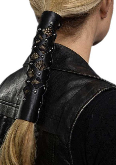 Hair Gloves Womens Leather Hair Wrap Diamond Cut-Out with Lace & Rivets 31839 - Wisconsin Harley-Davidson