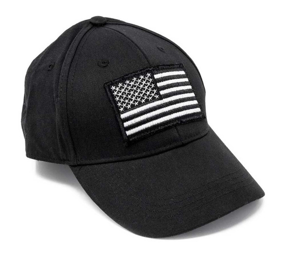 Unisex Embroidered Ride Free American Flag Black Baseball Cap, Adjustable 52007 - Wisconsin Harley-Davidson