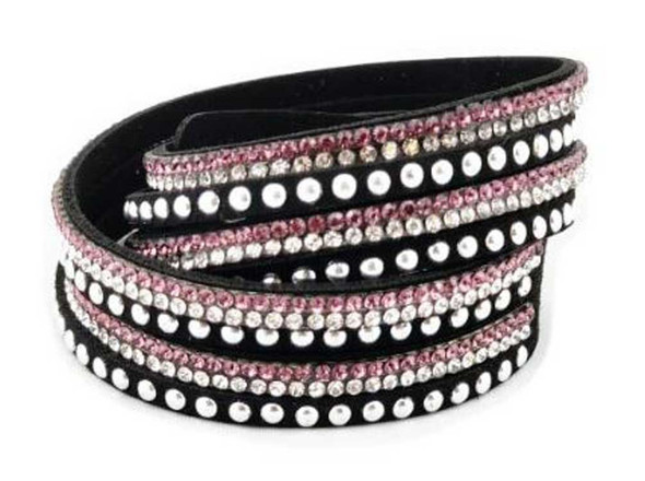 Women's Silver Studded with Bling Embellishment Purple Faux Suede Bracelet 84073 - Wisconsin Harley-Davidson