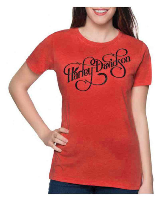 Harley-Davidson Women's Embellished Swash Crew Neck Short Sleeve Tee - Red - Wisconsin Harley-Davidson