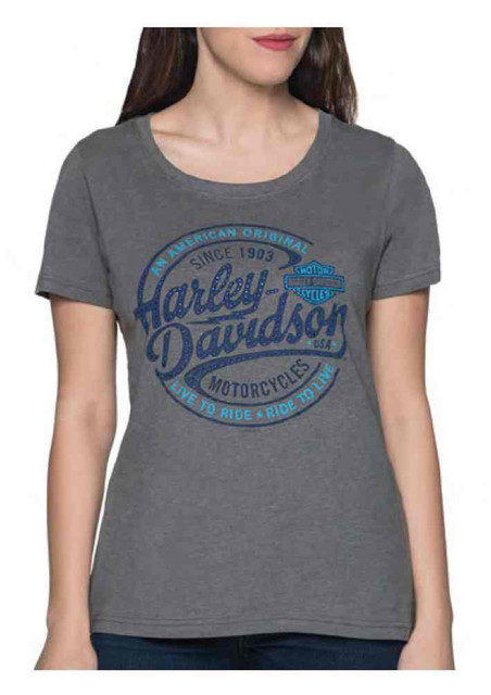 Harley-Davidson Women's Oil Surge Embellished Short Sleeve Poly-Blend Tee - Gray - Wisconsin Harley-Davidson