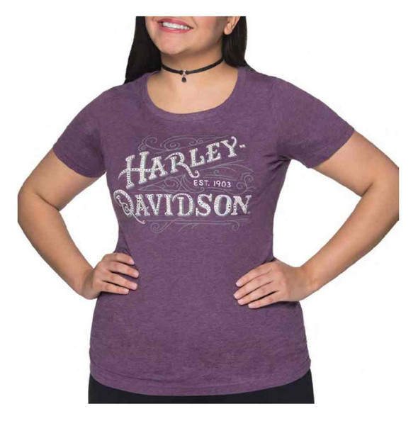 Harley-Davidson Women's Embellished Eloquent Ride Short Sleeve Tee, Purple - Wisconsin Harley-Davidson