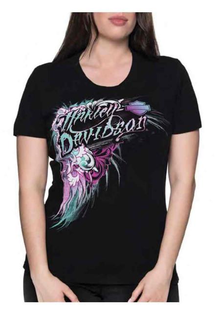 Harley-Davidson Women's Floral Victory Short Sleeve Crew Neck Tee - Black - Wisconsin Harley-Davidson
