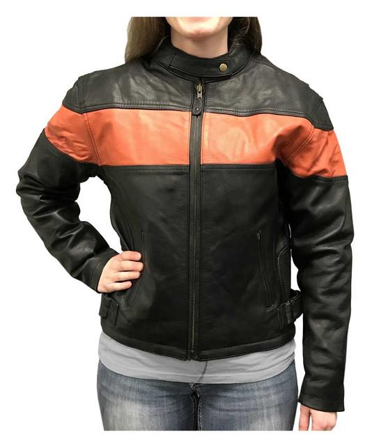 Redline Women's Orange Stripe Cowhide Leather Motorcycle Jacket, Black L-100B/O - Wisconsin Harley-Davidson