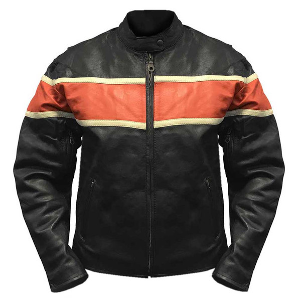 Redline Men's Orange Stripe Cowhide Leather Motorcycle Jacket, Black M-3200 - Wisconsin Harley-Davidson