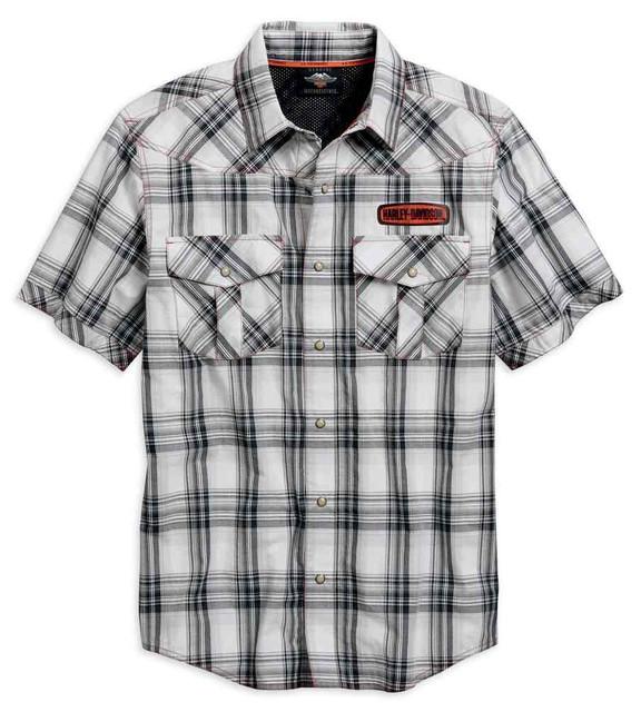 Harley-Davidson Men's Performance Plaid Vented Button Shirt, White 96756-19VM - Wisconsin Harley-Davidson