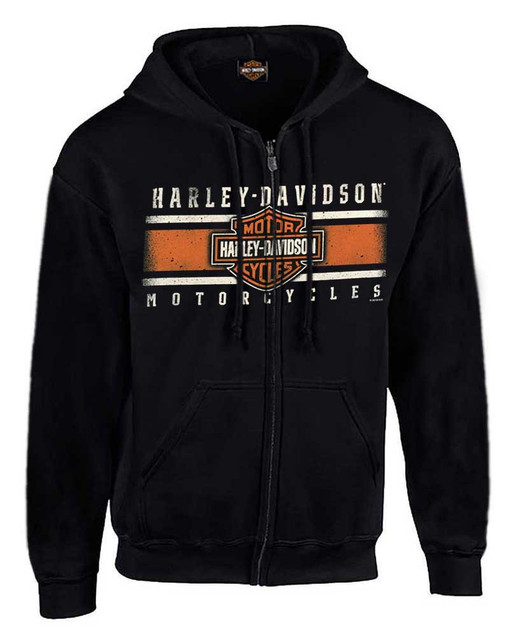 Harley-Davidson Men's Custom Iconic B&S Fleece Full-Zip Hoodie - Solid Black - Wisconsin Harley-Davidson