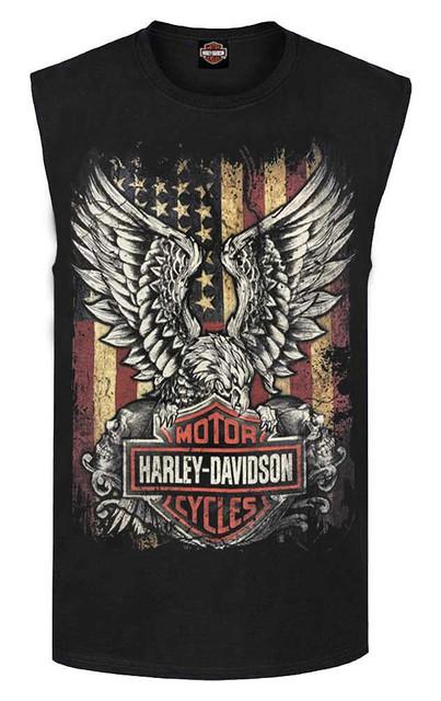 Harley-Davidson Men's Custom Freedom Sleeveless Crew Neck Muscle Shirt - Black - Wisconsin Harley-Davidson