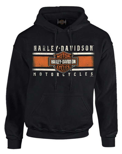 Harley-Davidson Men's Custom Iconic B&S Fleece Pullover Hoodie - Solid Black - Wisconsin Harley-Davidson