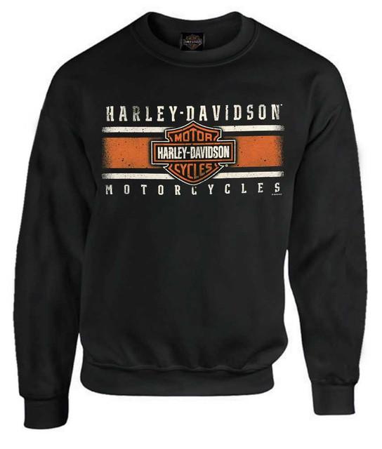 Harley-Davidson Men's Custom Iconic B&S Fleece Pullover Sweatshirt - Black - Wisconsin Harley-Davidson