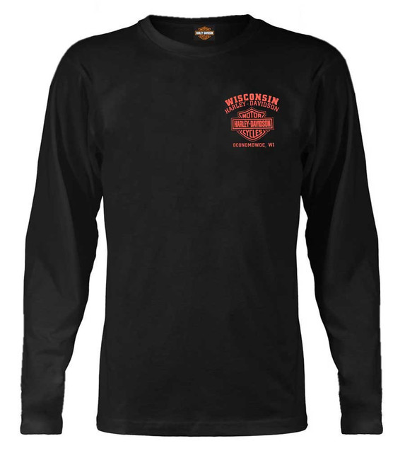 Harley-Davidson Men's Custom Skull & Stars Long Sleeve Crew-Neck Shirt - Black - Wisconsin Harley-Davidson