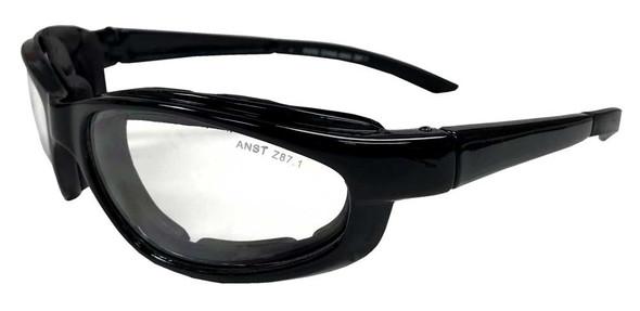 Redline Motorcycle Unisex Riding Padded Sunglasses, Black Frame & Clear Lens - Wisconsin Harley-Davidson