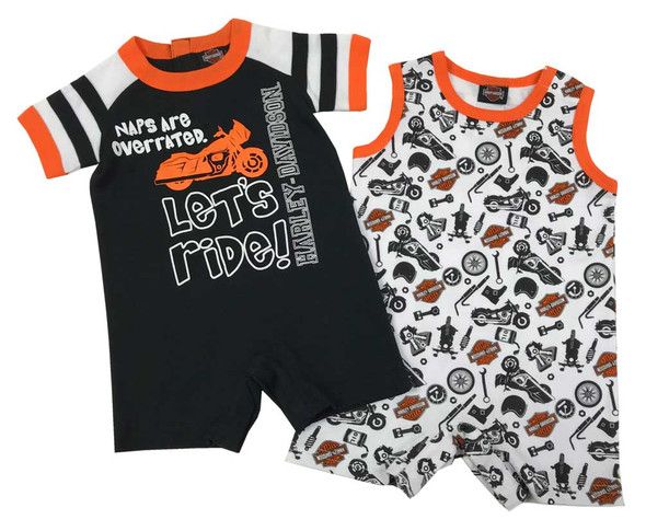 Harley-Davidson Baby Boys' 2-Pack Biker Newborn Romper Set, Black/White 3052901 - Wisconsin Harley-Davidson