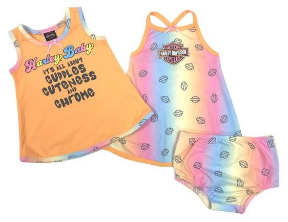 Harley-Davidson Baby Girls' 2-Pack Newborn Sundress Set w/ Diaper Cover 9002911 - Wisconsin Harley-Davidson