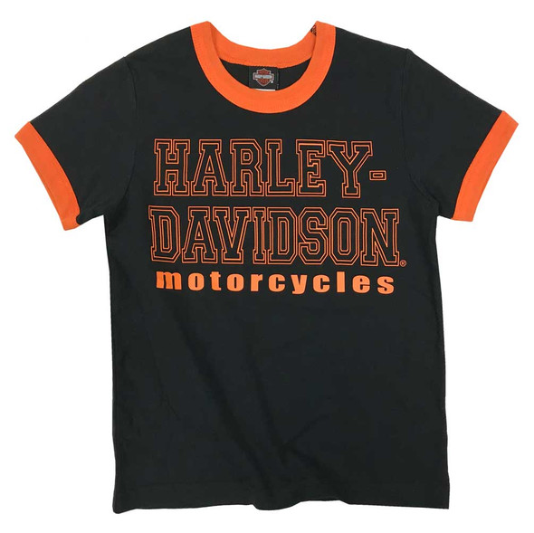 Harley-Davidson Big Boys' Ringer H-D Print Short Sleeve Tee - Black 1092923 - Wisconsin Harley-Davidson