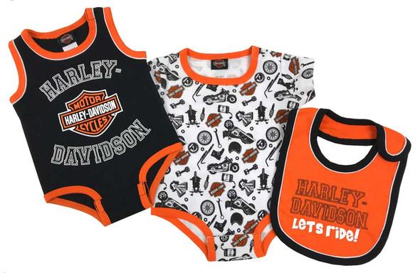Harley-Davidson Baby Boys' Biker 2-Pack Newborn Creeper Set w/ Bib 3052905 - Wisconsin Harley-Davidson