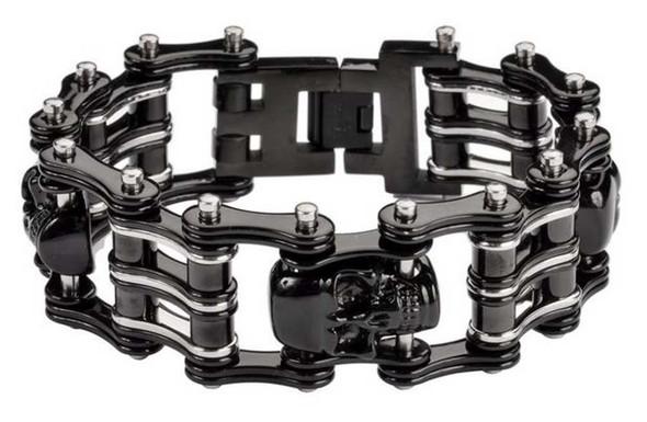 Biker Chain Jewelry Men's Two-Tone 1 in. Skull Bracelet - Stainless Steel SK1170 - Wisconsin Harley-Davidson