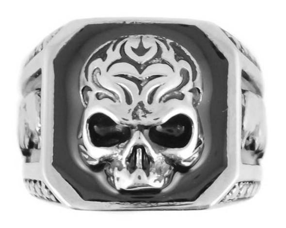 Biker Chain Jewelry Men's Skull & Eagle Ring - Silver Stainless Steel SK1024 - Wisconsin Harley-Davidson