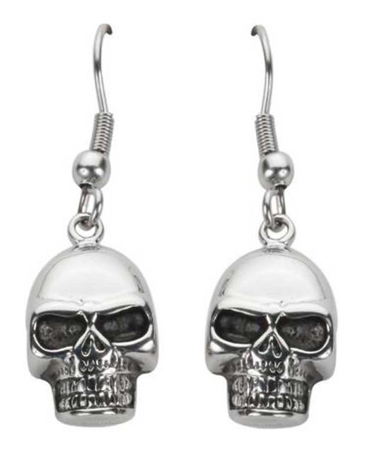 Biker Chain Jewelry Women's Skull French Wire Earrings - Stainless Steel SK1626 - Wisconsin Harley-Davidson