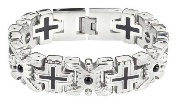 Biker Chain Jewelry Men's X & Cross Red Stone Bracelet - Stainless Steel SK1760 - Wisconsin Harley-Davidson