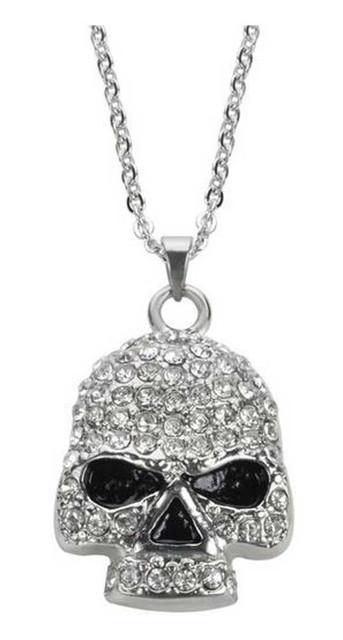 Biker Chain Jewelry Women's Bling Skull Necklace, 19in. - Stainless Steel SK1704 - Wisconsin Harley-Davidson