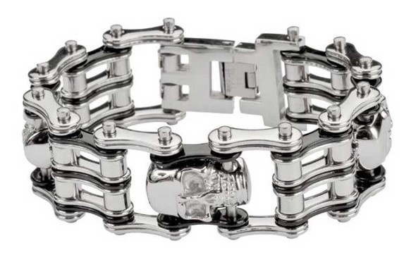 Biker Chain Jewelry Men's Silver 1 in. Skull Bracelet - Stainless Steel SK1172 - Wisconsin Harley-Davidson