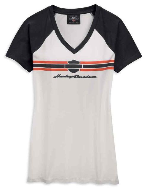 Harley-Davidson Women's Logo Stripe V-Neck Short Sleeve Tee Shirt 96827-19VW - Wisconsin Harley-Davidson