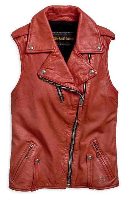Harley-Davidson Womens Asymmetrical Red Leather Bar & Shield Zip Vest 97049-19VW - Wisconsin Harley-Davidson