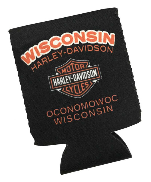Harley-Davidson Wisconsin H-D Neoprene Can Flat Wrap - Black & Orange CFCUS0304 - Wisconsin Harley-Davidson