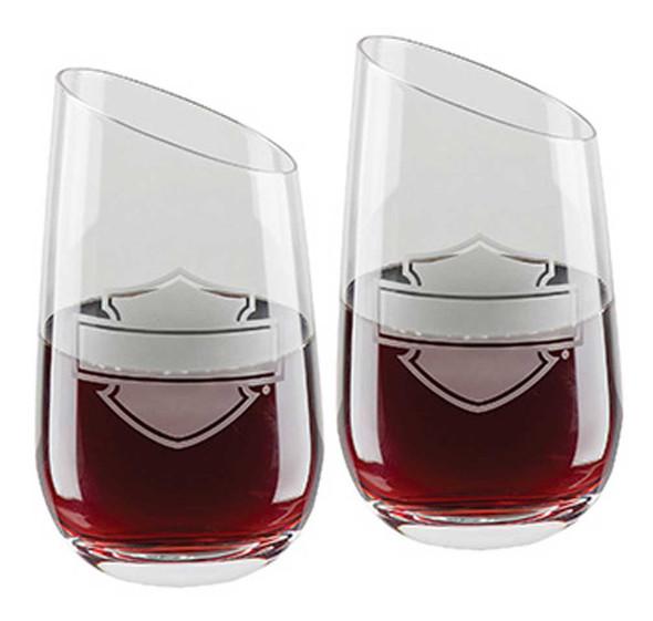 Harley-Davidson Silhouette Bar & Shield Stemless Angled Wine Glass Set HDL-18797 - Wisconsin Harley-Davidson