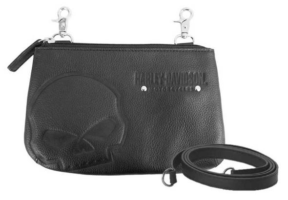 Harley-Davidson Women's Embossed Skull Leather Hip Bag w/ Strap SEW9023-BLACK - Wisconsin Harley-Davidson