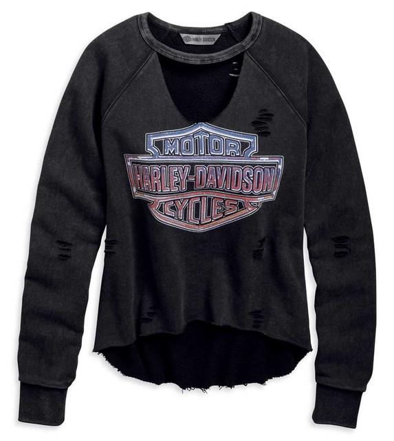 Harley-Davidson Women's Vintage Raw-Edge Pullover Sweatshirt - Black 96855-19VW - Wisconsin Harley-Davidson