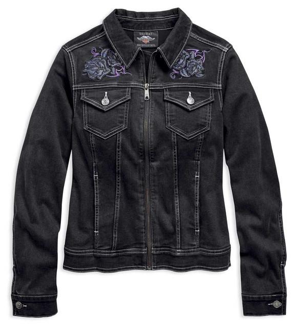 Harley-Davidson Women's Embroidered Rose Black Denim Casual Jacket 96858-19VW - Wisconsin Harley-Davidson