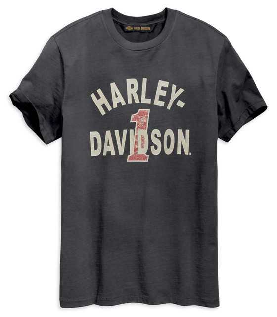 Harley-Davidson Men's Cracked Print Short Sleeve Tee - Washed Black 96002-19VM - Wisconsin Harley-Davidson