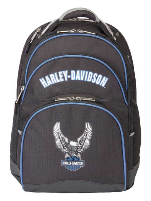 Harley-Davidson Backpack w/ Steel Cable Strap & Harley Eagle, Black w/ Blue Trim - Wisconsin Harley-Davidson