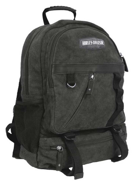 Harley-Davidson C4 Collection HD Utility Backpack, Cotton Canvas w/ Leather Trim - Wisconsin Harley-Davidson