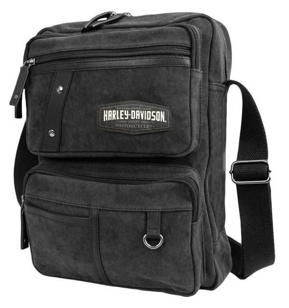 Harley-Davidson C4 Collection H-D Organizer Crossbody Bag, Cotton Canvas/Leather - Wisconsin Harley-Davidson