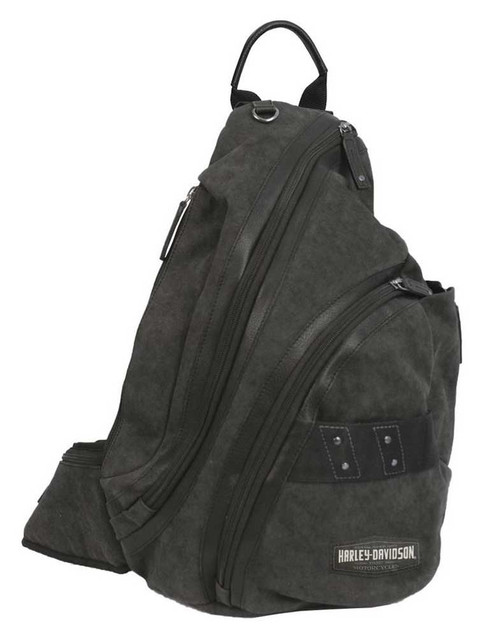 Harley-Davidson C4 Collection H-D Sling Backpack, Cotton Canvas w/ Leather Trim - Wisconsin Harley-Davidson