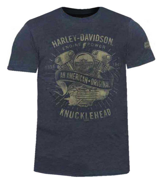 Harley-Davidson Men's Engine Power Short Sleeve Crew Neck T-Shirt, Heather Blue - Wisconsin Harley-Davidson