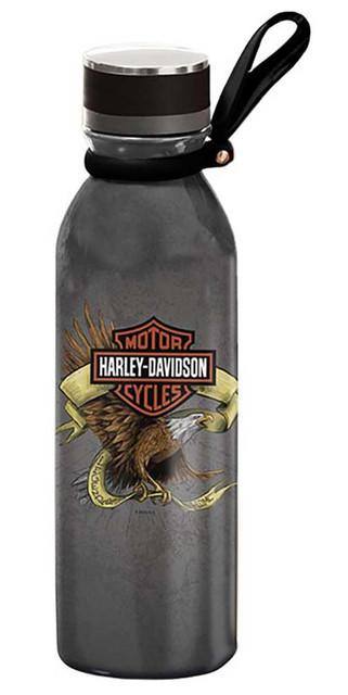 Harley-Davidson Legendary Eagle Stainless Steel Water Bottle - Dark Gray, 20 oz. - Wisconsin Harley-Davidson