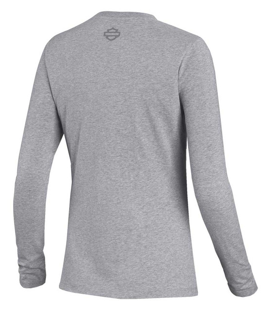 Harley-Davidson Women's Embossed Graphic Long Sleeve Tee - Gray 99050-20VW - Wisconsin Harley-Davidson