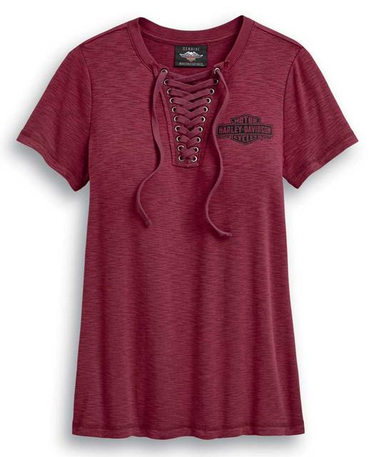 Harley-Davidson Women's Freedom Laced Neckline Short Sleeve Tee - Red 99045-20VW - Wisconsin Harley-Davidson