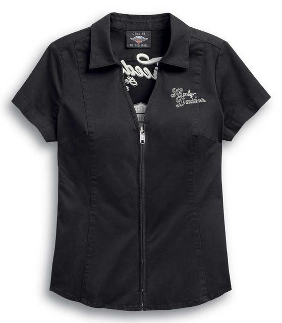 Harley-Davidson Women's Freedom Zip-Front Short Sleeve Casual Shirt 99037-20VW - Wisconsin Harley-Davidson